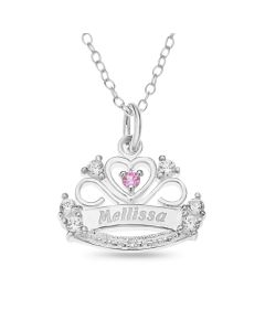 "Sterling silver Personalised Princess Crown With CZ stones and Diamond On 16"" Trace Chain"