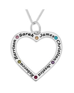 "Sterling Silver Personalised Open Heart Pendant on 18"" Mini Ball Chain"