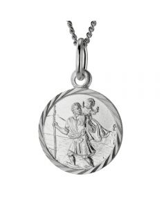 "Silver Personalised Small St. Christopher Pendant on 18"" Curb Chain"