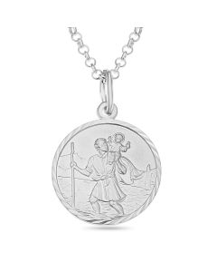 "Sterling Silver Personalised St. Christopher Round disc Pendant On 20"" Belcher Chain"