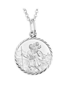 "Sterling Silver Personalised St. Christopher Pendant on 20"" Belcher Chain"
