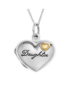 "Sterling Silver Personalised Daughter Heart Locket On 18"" Curb Chain"