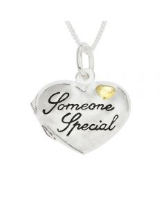 "Silver Personalised Someone Special Heart Locket on 18""Curb Chain"