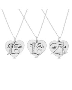 "Sterling Silver Personalised Heart Pendant With '16', '18' or '21' CZ Set Charms On 18"" Curb Chain"