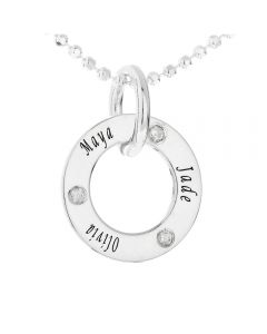 "Silver Personalised 3 Names And 3 Diamonds Set Circle Pendant on 18"" Ball Chain"