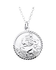 "Sterling Silver St Christopher Pendant on 16"" Trace Chain"
