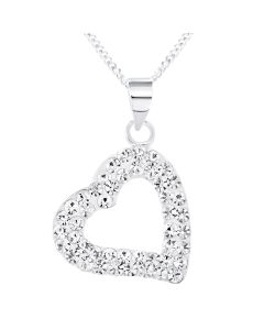 "Silver Crystal Set Open Heart Pendant On 18"" Curb Chain"