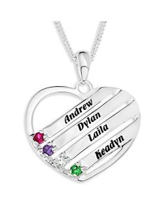 "Sterling Silver Personalised Family Keepsake 4 Names And 4 Birthstones Pendant On 18"" Curb Chain"