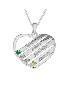 "Sterling Silver Personalised With Up To 4 Names Heart Pre-set With Four Coloured Cubic Zirconia On 18"" Curb Chain"