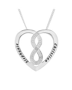 "Sterling Silver Personalised Two Names Dia Set Infinity Heart Slide Pendant On 18"" Curb Chain"