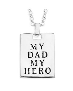 "Sterling Silver Personalised 'My DAD' Tag Pendant On 20"" Belcher chain"