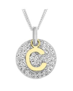 "Sterling Silver And Crystal GPS Initial Pendant On 18"" Curb Chain"