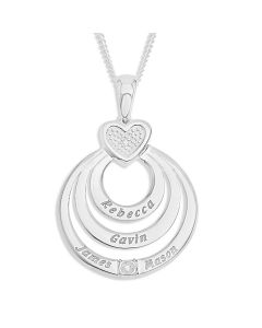 "Sterling Silver Personalised Heart And Disc Design Pendant Set With Diamond Accents on 18"" Curb Chain"