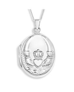 "Sterling Silver Personalised Claddagh Locket On 18"" Curb Chain"