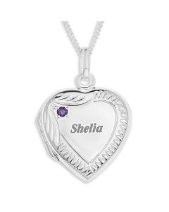 "Sterling Silver Personalised  And Birthstone Cubic Zirconia Heart Locket On 18"" Curb Chain"
