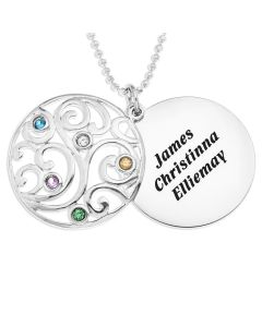 "Sterling Silver Personalised Five Names And Birthstones Filigree Disc Pendant on 18"" Mini Ball Chain"