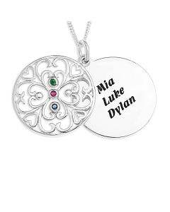 "Sterling Silver Personalised CZ Filigree Disc Pendant On 18"" Curb Chain"