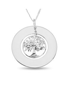 "Sterling Silver Plain Circle With Tree Of Life Charm Pendant On 18"" Curb Chain"
