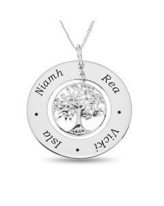 "Sterling Silver Family Tree Pendant on 18"" Chain Personalised With 4 Names"