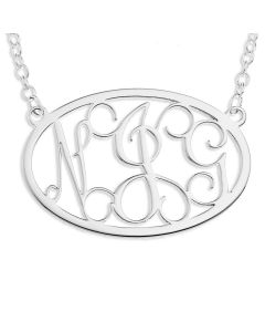 "Sterling Silver Three Letters Monogram Neclace On 18"" Trace Chain"