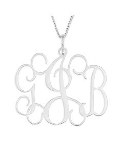 """Sterling Silver Three Letter  Monogram on 18"""" curb chain"""