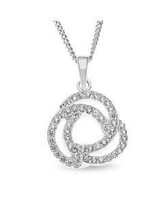 "Sterling Silver Cubic Zirconia Set Knot Pendant On 18"" Curb Chain"