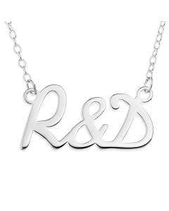 "Sterling Silver Two Initial With & Necklace on 16"" Trace chain"