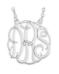 "Sterling Silver Three Initial CLASSIC Monogram On 16"" Trace Chain"