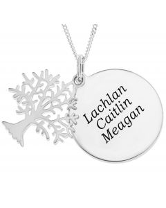 "Silver Tree Of Life With Personalised Round Disc on 18"" Curb Chain"