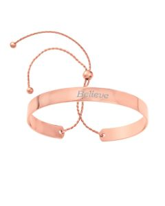 Rose Gold Plated Silver 'Believe' Bangle