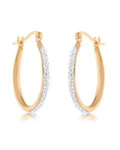 Rose Gold Plated Silver Crystal Set Hoop Earrings