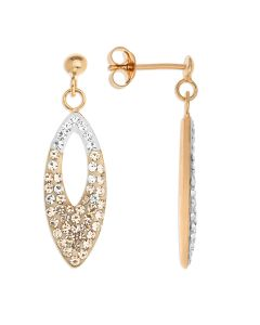 Rose Gold Plated Silver Crystal Set Drop Earrings
