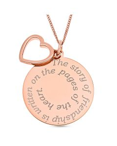 "Rose Gold Plated Silver Message Disc And Open Heart Charm Pendant On 18"" Curb Chain"