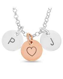 "Silver And Rose Gold Plated Personalised Two Initial Discs Pendants On 18"" Belcher Chain"