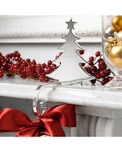 Silver Plated Zinc Alloy Tree Stocking Holder