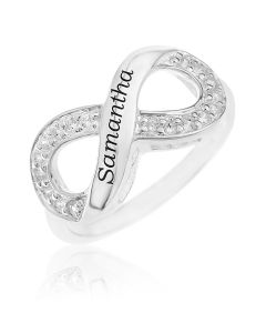 Sterling Silver CZ Set Personalised Infinity Ring