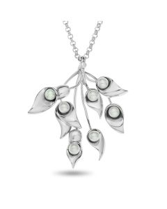 "Rhodium Plated Sterling Silver Fresh Water Pearl Flower Pendant On 18.5"" Belcher Chain"