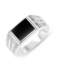Sterling Silver Ring Set With Onyx And Cubic Zirconia