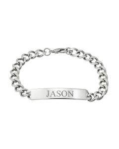"Stainless Steel Personalised Gent's 8.5"" ID Bracelet"