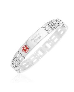 "Stainless Steel Personalised Gent's Medical Alert 8.5"" Bracelet"