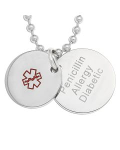 "Stainless Steel Personalised Medical Alert Round Disc Pendants On 18"" Ball Chain"