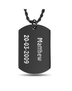 "Ion Black Plated Stainless Steel Personalised Name With Date Of Birth Dog Tag Pendant On 18"" Rope Chain"