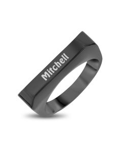 Ion Black Plated Stainless Steel Personalised Oblong Ring