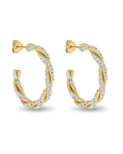 Gold Plated Silver Crystal Hoop Earrings