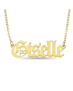 "Yellow Gold Plated Sterling Silver Old English Elizabeth Font Name Necklace on 16"" Trace Chain"