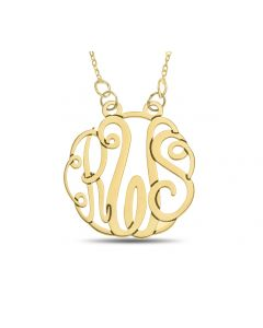 "10ct Yellow Gold Personalised Three Letter Monogram Necklace On 18"" Trace Chain"