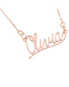 "10ct Rose Gold Personalised Underlined Name Plate Necklace On 16"" Trace Chain"