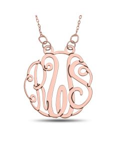 "10ct Rose gold Three Initials Monogram Neklace on 18"" Trace Chain"