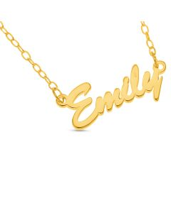 "10 ct Yellow Gold Brush Script Name Plate Necklace On 16"" Trace chain"