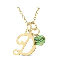 "10ct Single Initial And Round CZ Birthstone Pendant On 18"" Trace Chain"